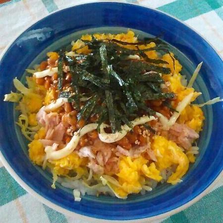 ツナたま納豆マヨご飯