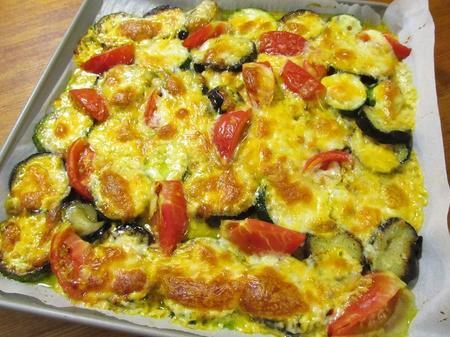 ズッキーニ、トマト、ナスのコルビージャックチーズ焼き