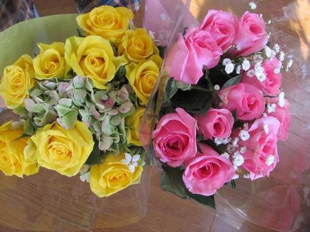 バラの花束、2つ